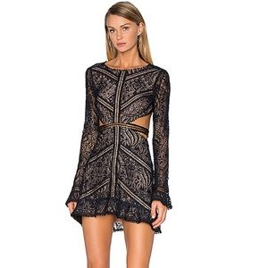 Emerie Cut Out Lace Dress in Black